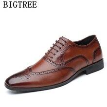 Кожаные Туфли-оксфорды; Мужская официальная обувь в винтажном стиле; элегантные мужские туфли-броги роскошного бренда; мужские свадебные модельные туфли erkek ayakkabi
