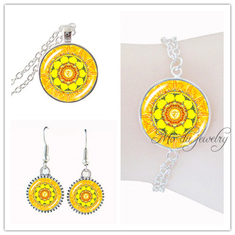 Solar plexus chakra pendant silver plated jewelry set mandala necklace set earring yoga glass bracelet indian om jewelry sets
