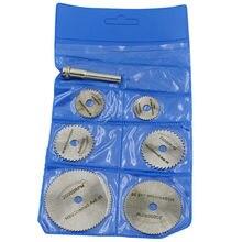 7pc 6 millimetri HSS Circolare Seghe Lama Dischi Da Taglio Cut Off Ruota Per Il Rotary Strumento di Plastica Piastra in Acrilico con Gambo 22/25/32/35/44/50 millimetri