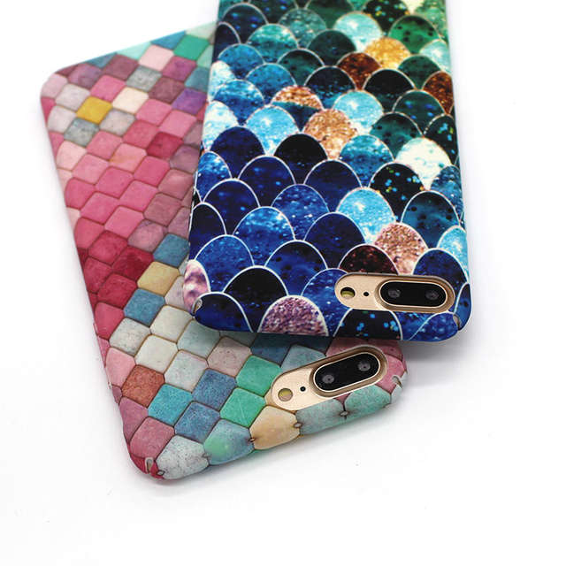 Us 2 87 15 Off Lovely Blue Mermaid Fish Scale Phone Cases For Iphone 6 6s Plus Case Hard Pc Protective Back Cover For Iphone 7 Plus Case Coque In
