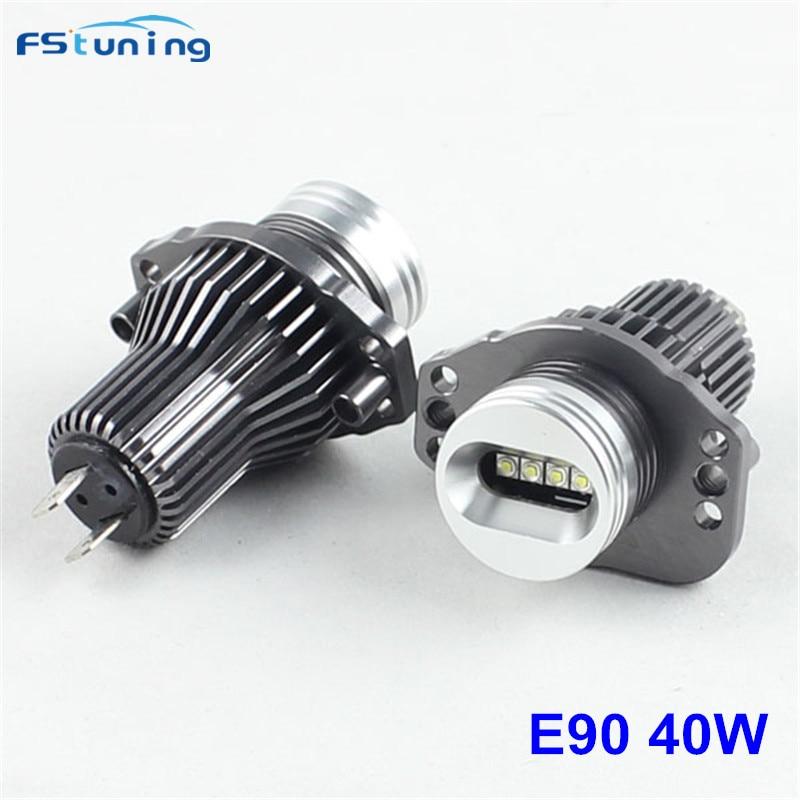 FSTUNING E90 E91 40 W LED Angel Eyes marqueurs ampoules pour BMW E90 E91 2005-2008 avant LCI avec phare au xénon d'usine