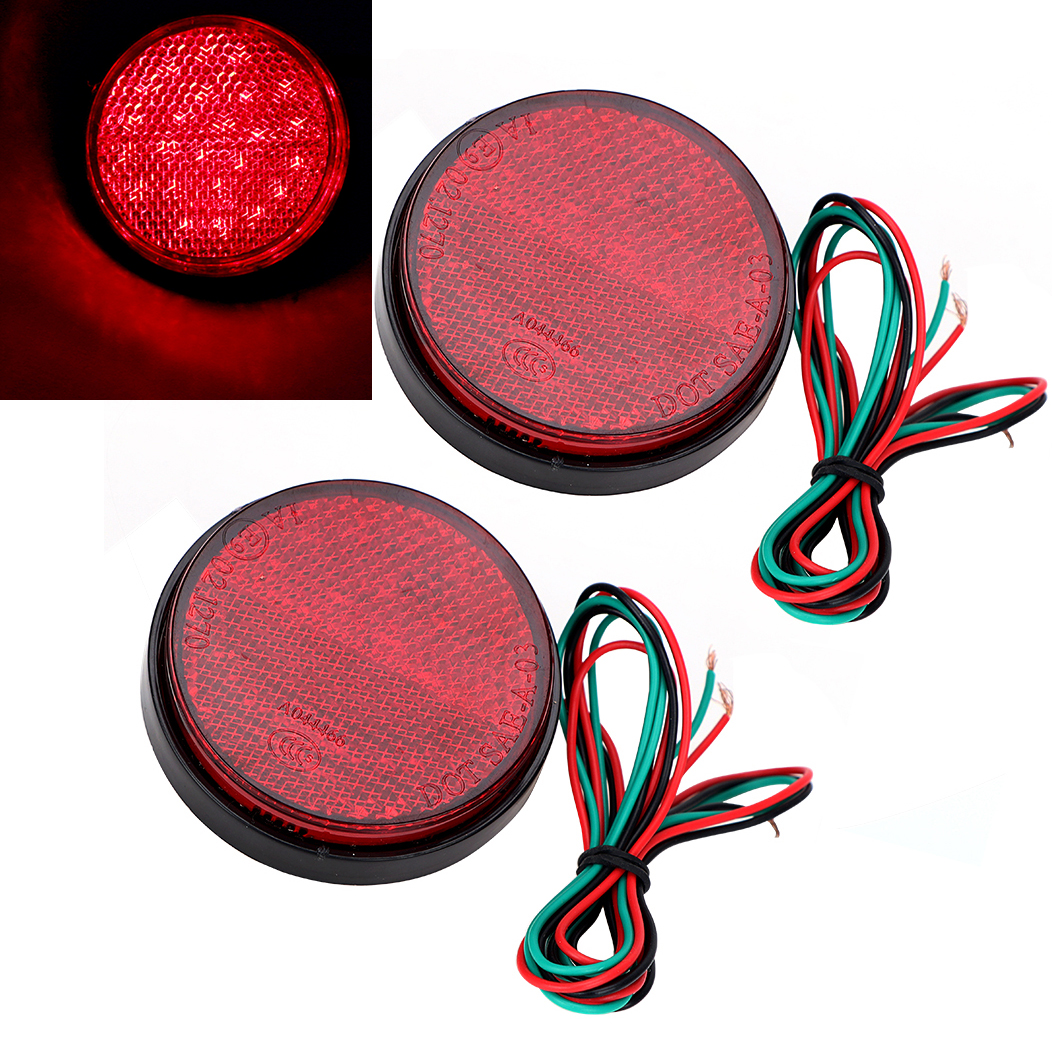 2pcs Truck Reflector Light Red Motorcycle Rear Light Round High Quality Brake Stop Lamp Car LED Tail Bumper Car-styling new universal motorcycle 12 led lamp stop break rear tail red car light lamp fenders