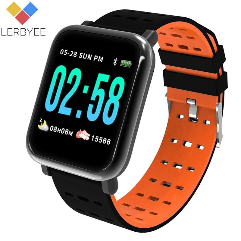 Lerbyee A6 reloj inteligente Monitor de frecuencia cardíaca Fitness Tracker Monitor de sueño deporte impermeable banda de reloj para Android IOS regalos