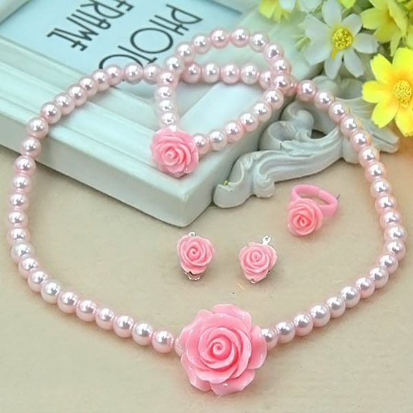 1 set Hot sale Kids Girls Child Imitation Pearl Flower Shape Necklace+Bracelet+Ring+Ear  ...