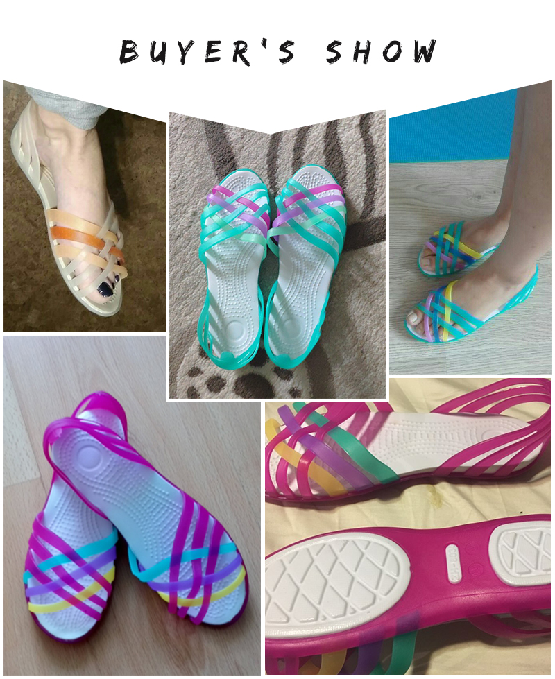 HTB16e9CLYvpK1RjSZFqq6AXUVXaN MCCKLE Women Jelly Shoes Rainbow Summer Sandals Female Flat Shoes Ladies Slip On Woman Candy Color Peep Toe Women's Beach Shoes