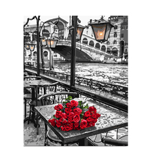 Painting By Numbers DIY  40×50 50x65cm Red rose on the table Flower Canvas Wedding Decoration Art picture Gift