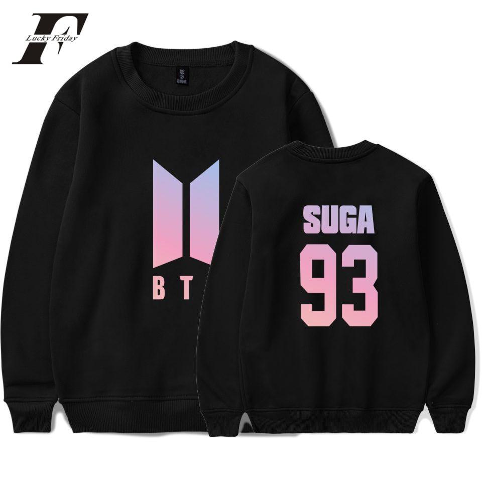 LUCKYFRIDAYF BTS Group Harajuku Hoodies Women Bangtan Kpop Fans Capless Sweatshirt Women Hoodies Love Yourself Album Clothes