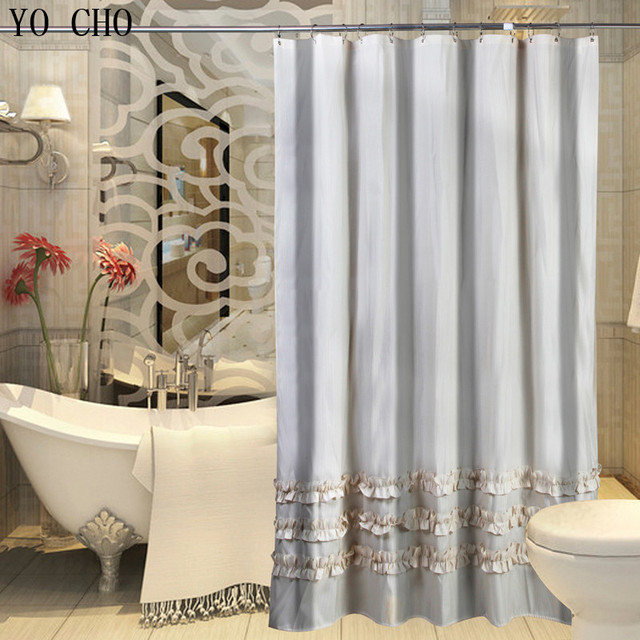 Customized Exported Stripe Polyester Shower Curtain Ruffle Lace Waterproof Thickening Bath
