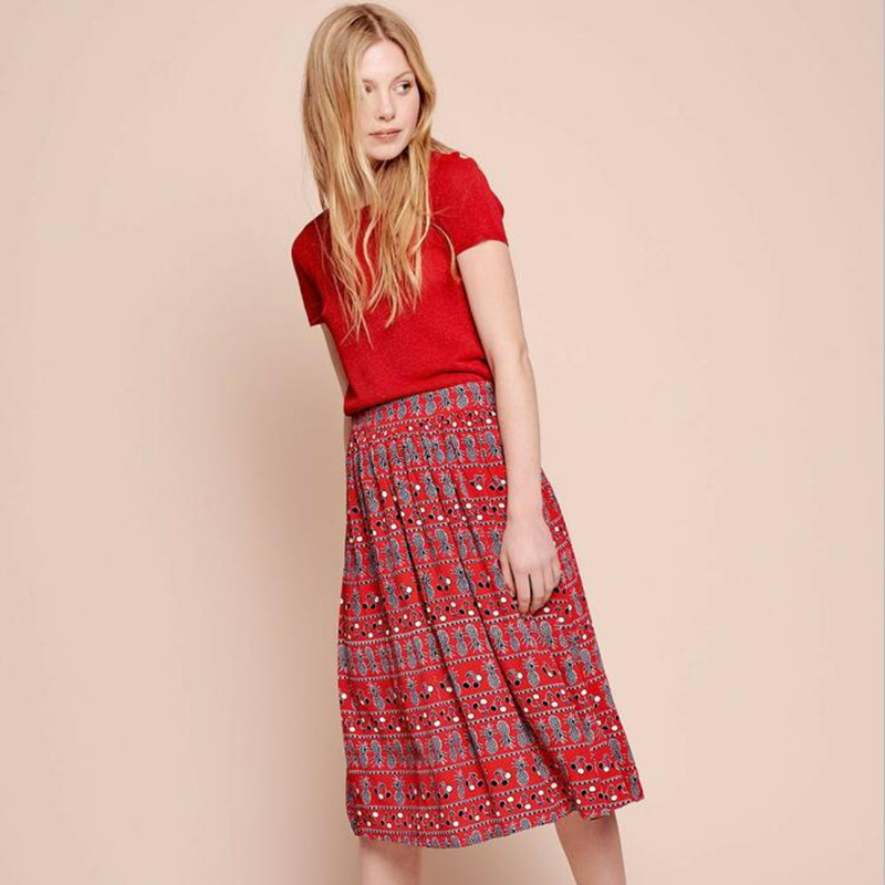 Women Red Pineapple Print Elastic Waist Midi Skirt Jupe Santa Cocktail Viscose Long Skirt