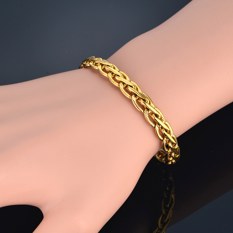 Bracelet Men Women Jewelry Silver/Gold Color Embossed Flat Chain Link Bracelet Wholesale Braslet Male Female Gift Vintage