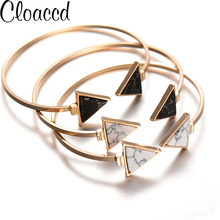 Cloaccd Vintage Fashion Triangle Faux Stone Bracelets Opening Adjustable Lover Bangle Best Gifts for Women Birthday Party