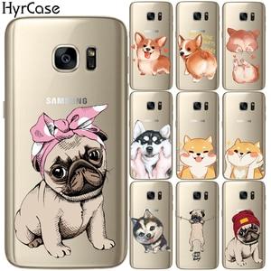 Śliczne mops pies model z miękkiego tpu obudowa na telefon pokrywa dla Samsung Galaxy S5 Mini S6 S7 krawędzi S8 S9 S10 Plus S10E silikon Coque