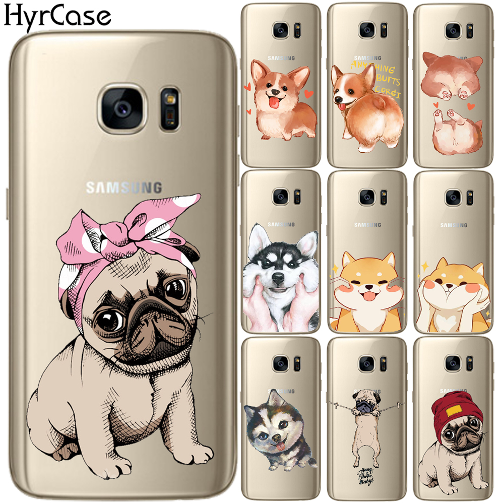 Cute Pug dog Design Soft TPU Phone Back Case Cover For Samsung Galaxy S5 Mini S6 S7 Edge S8 S9 S10 Plus S10E Silicone Coque image