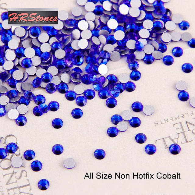 Nail Art Decorations Nail Art Rhinestone Crystal Cobalt ss3-ss30 Glue On Non  Hotfix Flatback Rhinestones 9aa1f28a4b10