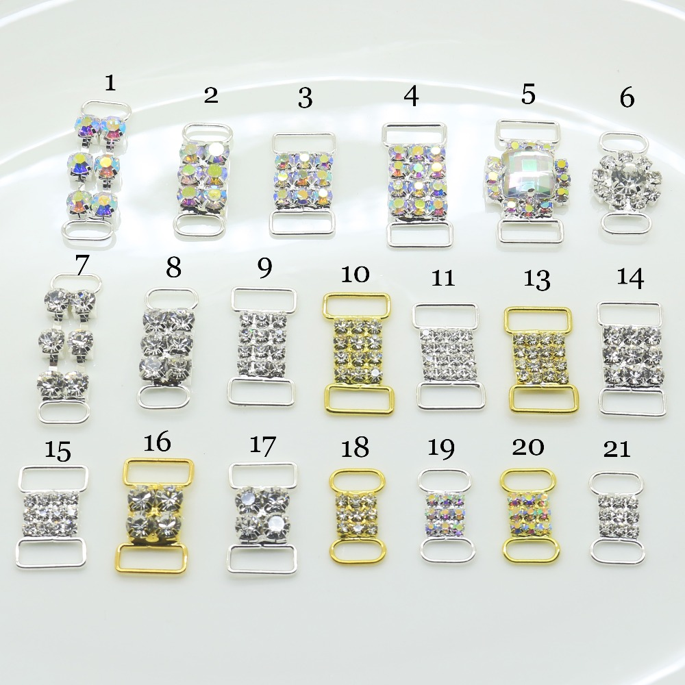 New Hot 10Pc/Lot Mix Size 22 Styles Wholesale Cheap Two Color Crystal Buckles Rhinestone Bikini Connector Ribbon Clothing Buckle