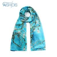 Aishidis Frauen Langen Seidenschal Luxus Marke Wrap Schals Kopftuch Ölgemälde Arbeitet Blume Foulard Big Size Tücher