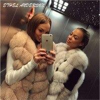 100 Real Fox Fur Vest Natural Fox Fur Vest Gilet Women Regular Standard Covered Button Design