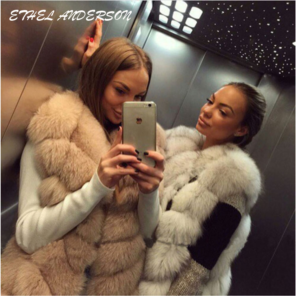 100 Real Fox Fur Vest Natural Whole Fox Fur Vest Gilet Women Regular Standard Covered Button