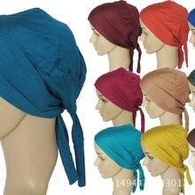10 шт./партия, шапка для хиджаба, шарф Мусульманский, шапка с галстуком-бабочкой, Женская хлопковая трикотажная внутренняя шапочки под хиджаб, одноцветная, мусульманская шапка