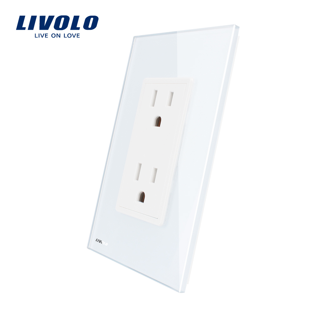 Livolo  US Standard US Socket(15A), WhiteCrystal Glass, AC 110~220V, Wall Powerpoints With Plug, VL-C5C2US-11