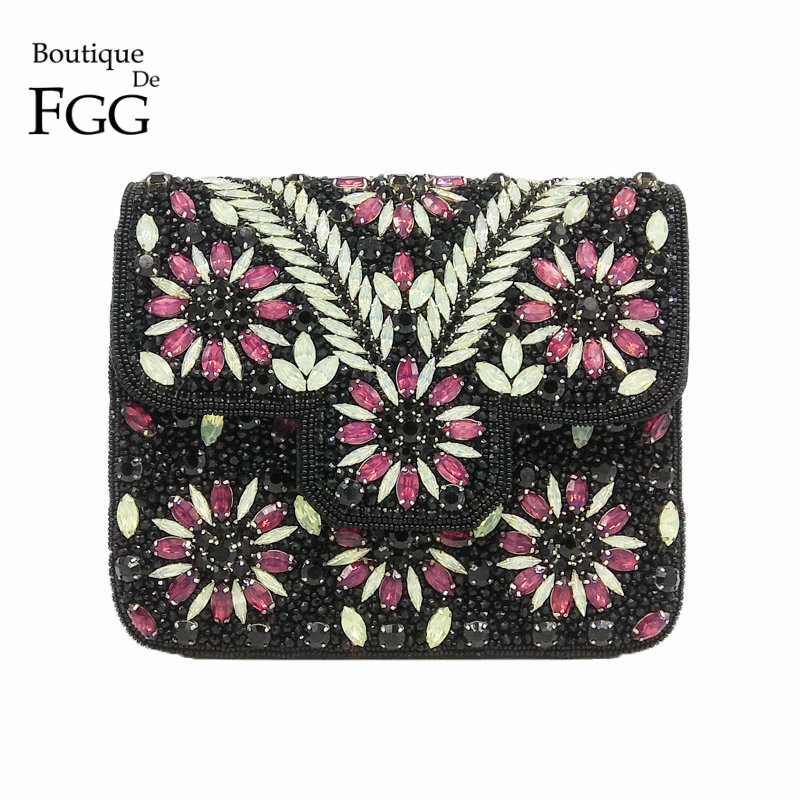 Boutique De FGG Vintage Indian Hand Made Women Black Beaded Clutch Purse Crystal Flower Evening Bag