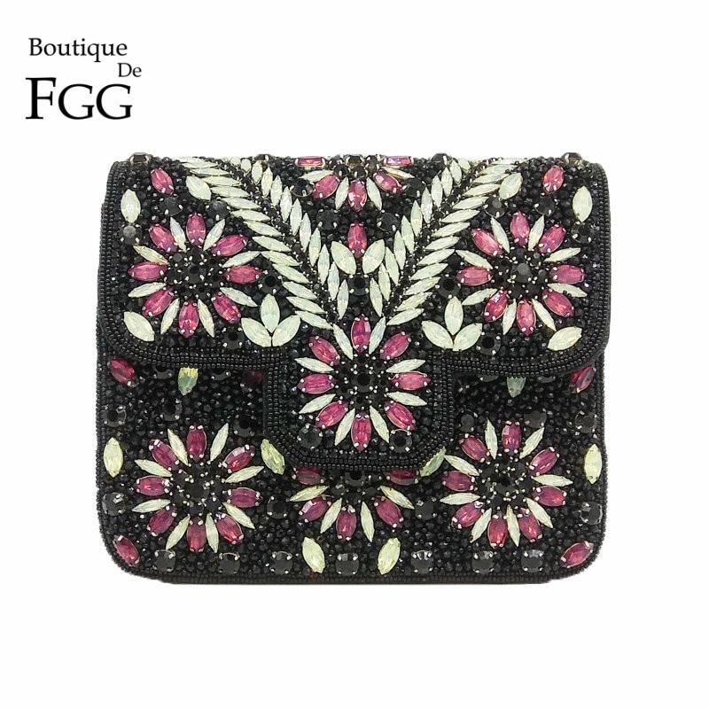 Boutique De FGG Vintage Indian Hand Made Women Black Beaded Clutch Purse Crystal Flower Evening Bag Wedding Bridal Party Handbag
