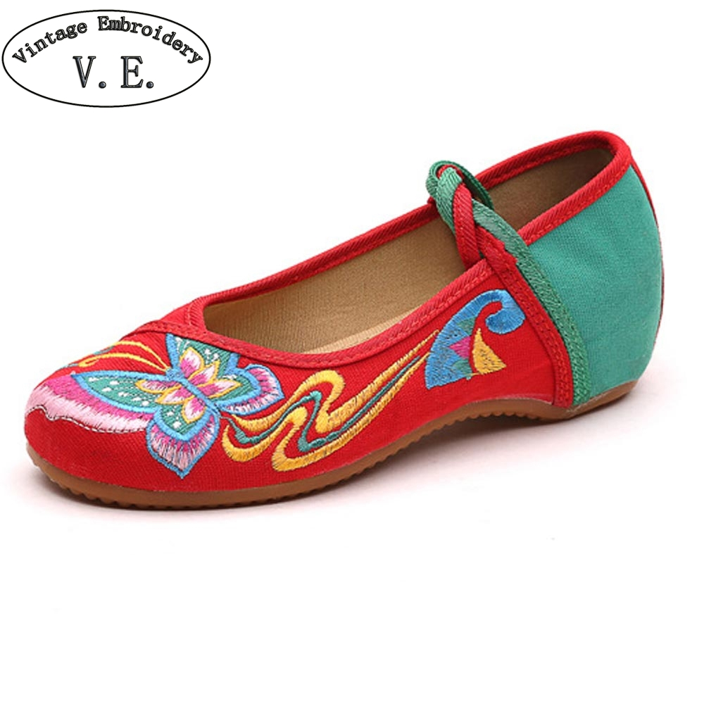 Chinese Women Shoes Flats Butterfly Embroidery Lace Up Soft Sole Cloth Dance Ballet Flat Zapatos Planos Mujer Plus Size 41 vintage women flats old beijing mary jane casual flower embroidered cloth soft canvas dance ballet shoes woman zapatos de mujer