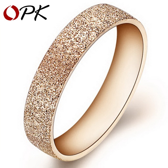 OPK Frosted Stainless Steel Rings Circle Gold Color Dull Polish