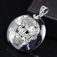 silver wholesale 925 Sterling Silver Pendant retro color lady Thai silver inlaid garnet red zirconium Pi Xiu Pendant