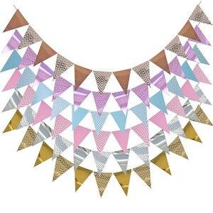 Image 2 - 3m 12 bandera oro rosa tablero de papel guirnalda pancarta para Baby Shower decoración de fiesta de cumpleaños decoración de habitación de niños guirnalda banderines