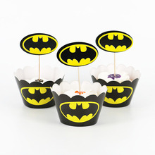 24 шт знак Бэтмена кекс обертки для пирожных для ношения с обувью, Беби Шауэр Детский Детские Декорации для вечеринки на день рождения поставки