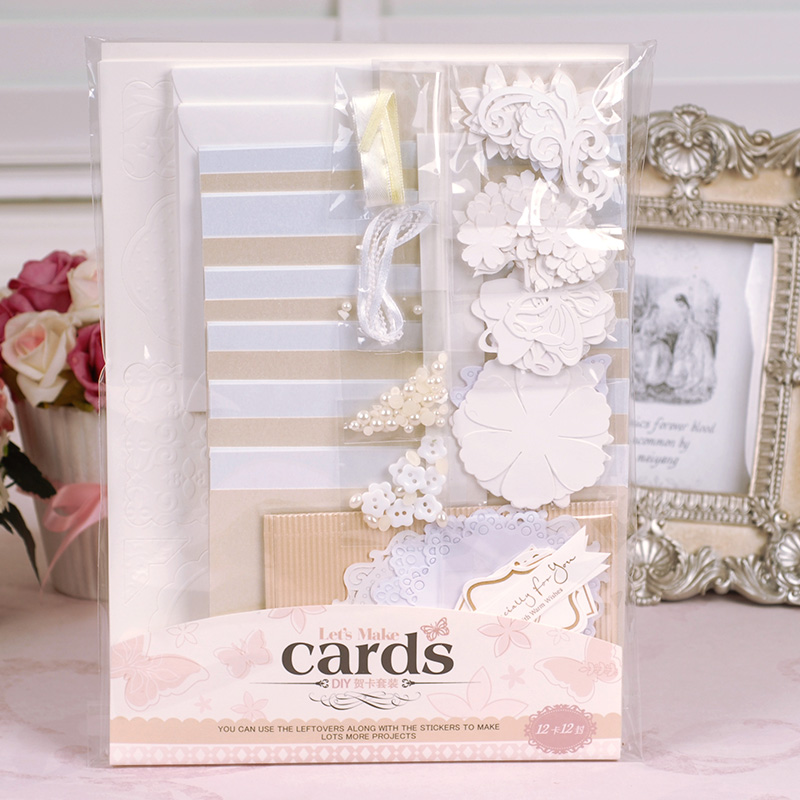 Wedding Greeting Card Kit Valentine Gift Card Making Kit DIY Scrapbooking Cards and Envelopes megashopping green bowknot white dot favor wedding valentine gift boxes sold individually
