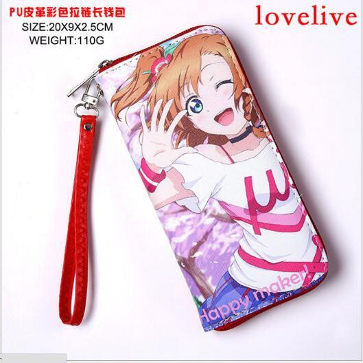 Anime Long Zipper Leather Wallets Cell Phone Purse