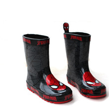 Fashionable Comfortable Boy Rainshoes Boots Children Cartoon Spider Anti-skid OverShoes Winter Warm Add Wool Toddler Rain Boots(China)