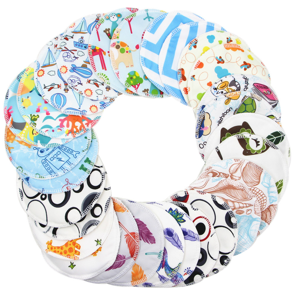 Reusable Cotton Pads Nursing Pads Cartoon Washable Reutilizable 3 Layers Bamboo Soft Absorbent Baby Breastfeeding Breast Pads