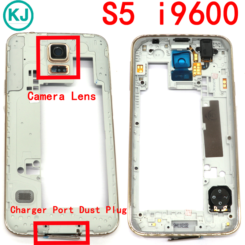 Rear S5 Mini Middle Frame For Samsung Galaxy S5 i9600 G900F/H/P / S5Mini G800 Mid Bezel Housing Plate With Camera Lens