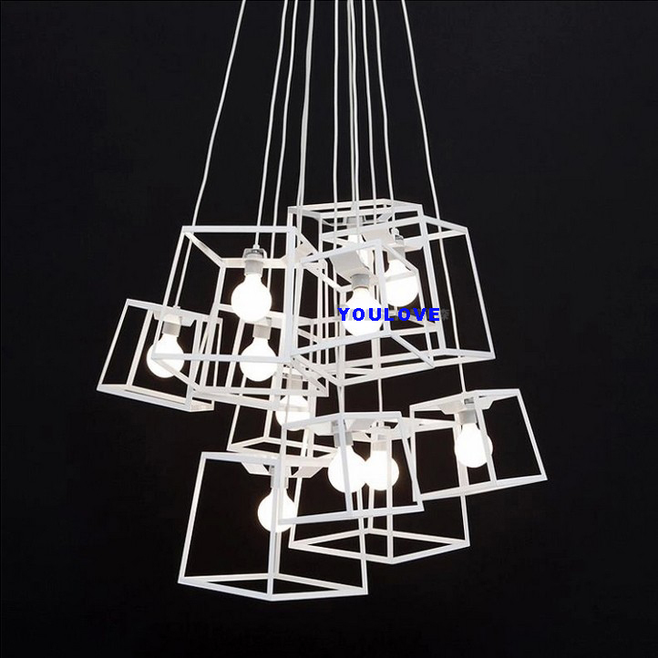 Modern Square Cabinet Droplights Home Indoor Lighting Colorful Cafes Pub Bar Shop Dining Room Restaurant Pendant Lights Fixture neon sign for donuts bar cakes cave real glass tube beer pub restaurant signboard store display shop light signs 17 14