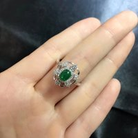 New Jewelry Qi Xuan_Fashion Jewelry_Colombia Green Stone Simple Rings_S925 Solid Silver Woman Rings_Factory Directly Sales