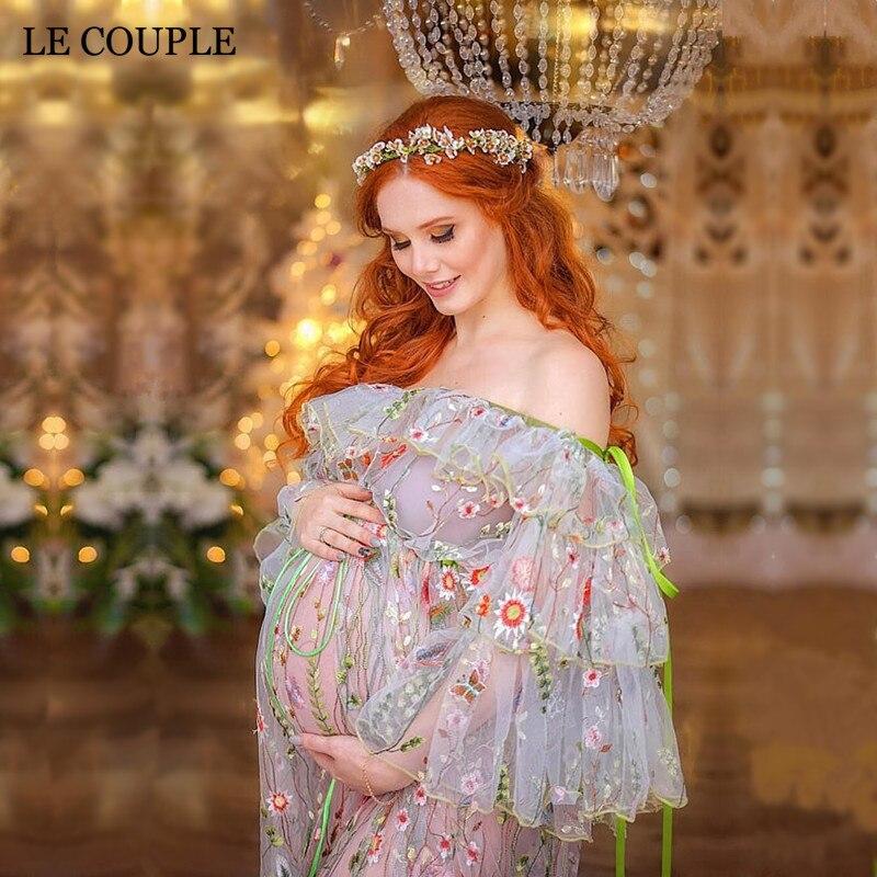 Le пара Материнство платья Подставки для фотографий Вышивка органзы длинное платье для беременных Для женщин Беременность платье фотографи