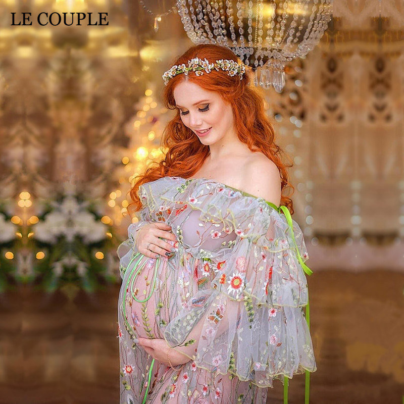 Le Couple Maternity Dresses Photography Props Embroidery Organza Long Dress for Pregnant Women Pregnancy Dress Photography цена