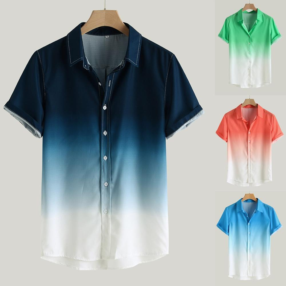 2019 Plus Size Men Summer Loose Blouse Breathable Short Sleeve Turn-Down Collar Gradient Camisa Masculina Chemise Homme Hawaiian