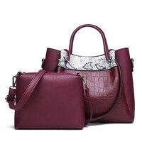 2Pcs/set Women Handbag 2019 Bags Ladies Fashion Snake Bag Lady PU Leather Casual Female Casual Tote Sac Purses wallet TK5081