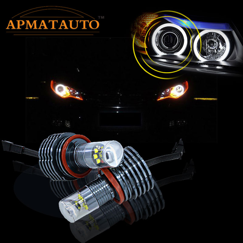 2 Pcs H8 LED Angel Eyes luz 60 W Com Chips CREE Lâmpada HID Para BMW E60 E61 E63 E64 E70 E71 X5 X6 Z4 E82 E87 E89 E90 E91 E92