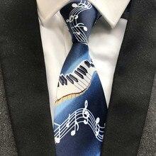 Men Musical Piano Blue Tie