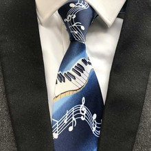 9 cm New Designer's Men Musical Necktie Blue with Piano Music Notes Pattern Ties for Musician Party