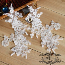 10 Pieces Off White Flower Lace Applique Collar  Bridal Neckline Sewing On Dress Patch Hot Sale AIWUJIA