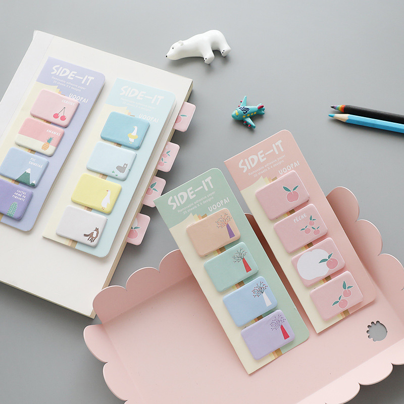 80Sheets Peach Memo Pads Creative Cherry Sticky Notes Animals Post it Sticky Stickers For Kids Gifts School Supplies Stationery image