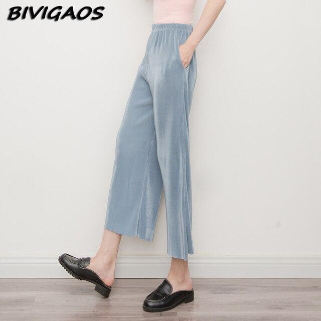 Лето palazzo брюки женская плиссированные широкую ногу брюки обрезанные брюки 3 цвет высокая талия свободные брюки женщины pantalon femme pantolon