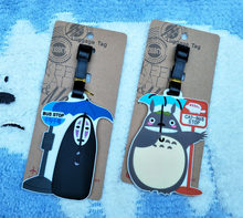 Luggage Tag Anime Spirited Away No Face Man Totoro Airplane ID Suitcase Identity Address Name Portable Label Travel Accessories(China)