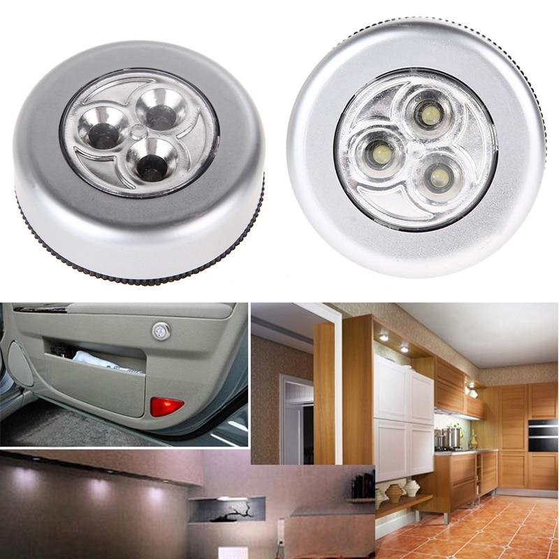 Silver Stick Touch Lamp Round LED Battery-powered Wireless Night Light Lamp Light